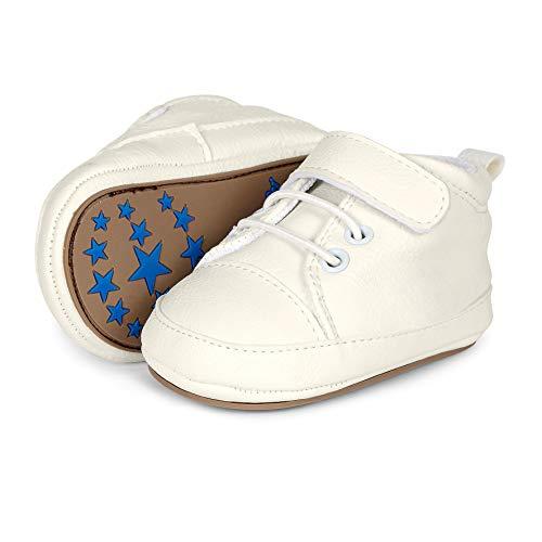 Sterntaler Unisex Baby-Krabbelschuhe mit Klettverschluss, Schnürbänder und rutschfesten Sohlen, Alter: 12-18 Monate, Größe: 20, Farbe: Weiß, Art.-Nr.: 2301623