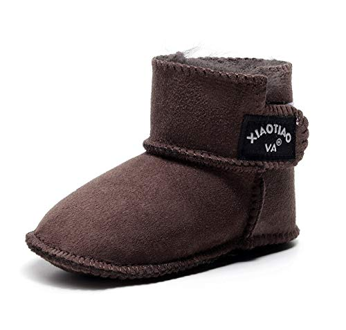 Bebila 2019 Genuine Sheepskin Baby Boots - Leather Baby Shoes Soft Sole Warm Winter Fur Lined First Walker Toddler Snow Boots for Boys Girls