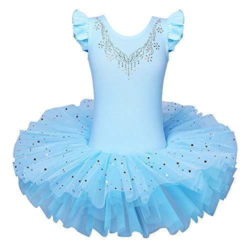 ZNYUNE Bambine Ragazze Vestito Tutu da Balletto per Ballo Strass Manica Corta di Usura di Ballo Abiti 3 8 Anni