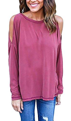 Damen Langarmshirt T-Shirt Blusen Grundiert Langarm Trägerlos O Ausschnitt Irregular Rückenfrei Lose Uni-Farben Einteiler Figurbetont Die Neue Rot