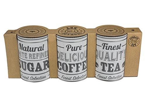 Nuestras reservas de metal de tarros para té, café y azúcar (y por supuesto otros) cubiertas al mismo tiempo moderno y nostálgico en Modern es el diseño puramente de color blanco y negro, lo que para las antiguas cajas metálicas, era bastante inusual...