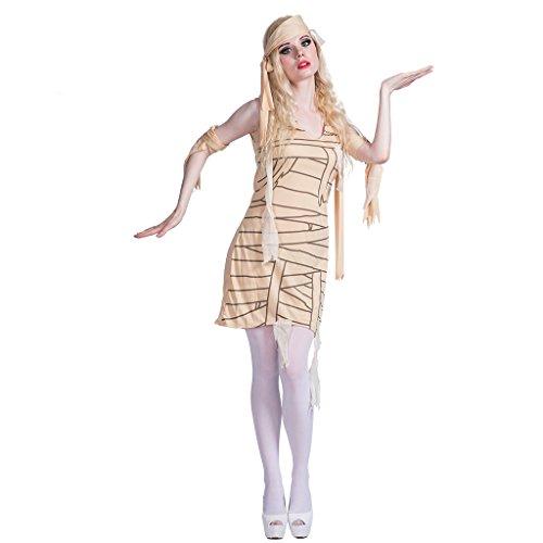 EraSpooky Damen Mumie Kostüm Ägypter Faschingskostüme Cosplay Halloween Party Karneval Fastnacht Kleid für - Mumie Kostüm Frauen
