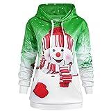 Sillor Hoodie Weihnachten Damen Klassisch Weihnachten Karikatur-Schneemann-Drucken Steigung Lange Ärmel Kapuzenpullover mit Große Tasche, Casual Große Größe Bluse Top Sweatshirt