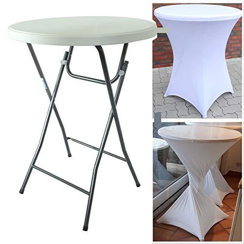 Partytisch mit Husse Bistrotisch Stehtisch Klapptisch Biertisch weiß Ø 80cm / Höhe ca.110 cm klappbar Baumarktplus