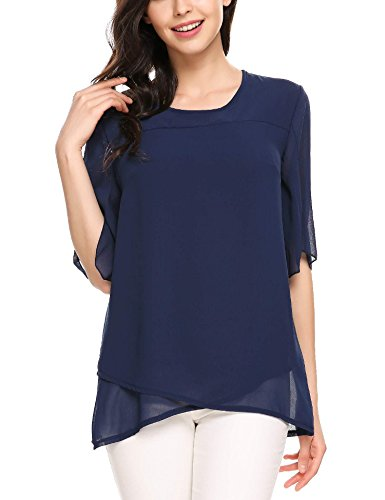 Meaneor Camicia Casuale Delle Donne Asimmetrico Chiffon maniche 1/2 Collo Alto Unito Blu marino