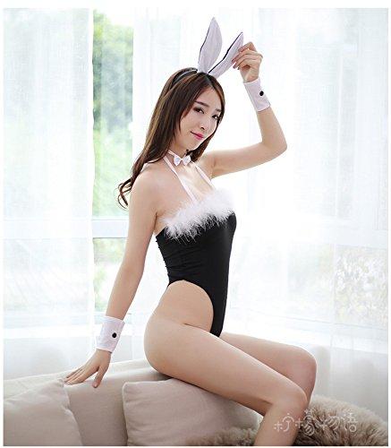 Nachtclub Bühnenshow Polentanz Tanz Cosiment Sexy Unterwäsche Sexy Perspektive Drei-Punkt Schwarz Kaninchen Mädchen Uniform Dress Anzug (Kostüme Tanz Stöcken)