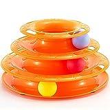 Trixii Mattierender Lustiger Katzendrehspielzeugball des Katzenpuzzlespielmolaren Spielzeugdreischichtdrehscheiben-Lustigen Katzenballs ABS,Yellow