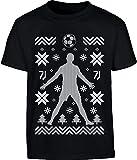 Shirtgeil Maglia Ronaldo per Natale - Regalo Natalizio Maglietta per Bambini e Ragazzi 13-14 Anni (164cm) Nero