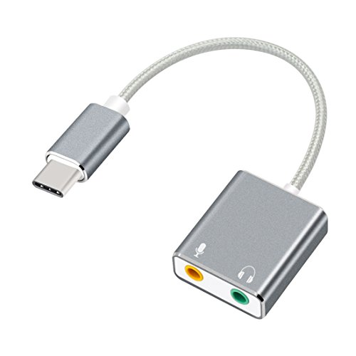 Auswaur USB Typ C Externe Stereo Soundkarte Audio Adapter mit 3,5 mm Kopfhörerbuchse und Mikrofonbuchse für Windows, Mac, PC, Laptops, Computer, Desktops und Mobiltelefone (Typ C-Grau)