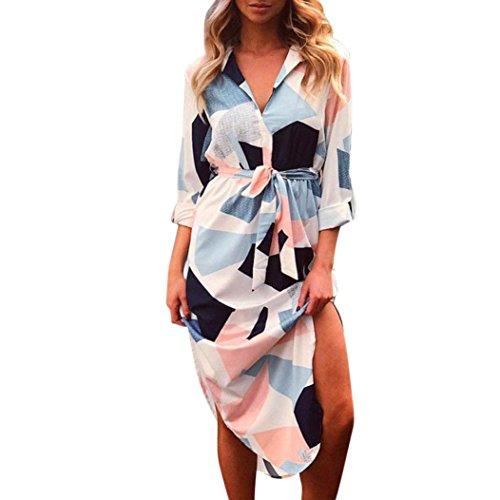 VENMO Damen kariertes Hemd Drucken Langarmkleider Damen Gürteltierkleid Sommerkleider Damen V-Ausschnitt Strand Blumen Kleider Abendkleid Knielang Cocktailkleid Business Stretch Kleid (XXL, Blue) Frauen Xxl-hemden