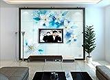 Fototapete 3D Tapete Vlies Wanddeko Blauer Himmel, Weiße Wolken Und Snow Mountain Grünland Blume Hintergrund Mauer