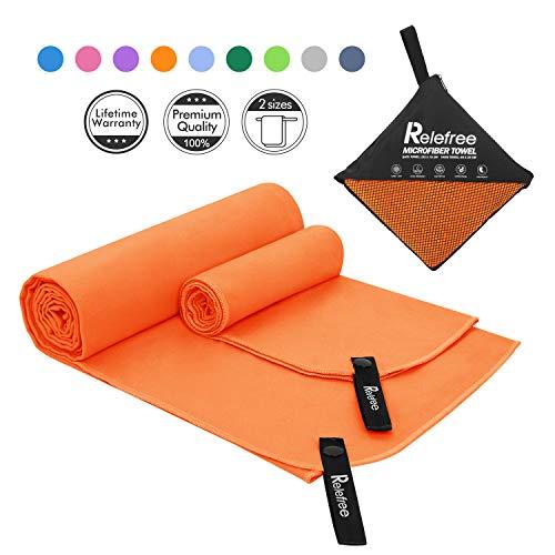 Asciugamano Microfibra Set 2 Pezzi (L & S) Asciugatura Rapida, Assorbente, Facile da Trasportare Perfetto per Asciugamano Palestra Mare Campeggio Viaggio + Borsa Rete Traspirante