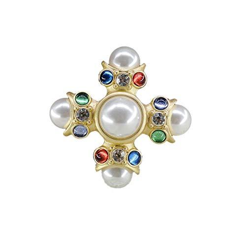 YXZHKDM Spilla Spilla A Rombi Imitazione Stile retrò Semplice Atmosfera Perla Color Diamante