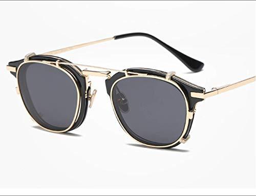 LKVNHP New Hohe Qualität Blauer Spiegel Männer Sonnenbrille Uv400 Dual-Optic Abnehmbare Linse Vintage SonnenbrilleMetallrahmen4 Farben Mit BoxSchwarzen Rahmen