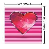 BuEnn 6x6ft Rosa Gestreifte Rote Liebe Valentinstag Fotografie Hintergrund Geburtstagsfeier für Mädchen Baby Shower Hochzeit Dessert Tischdeko Stand - 5