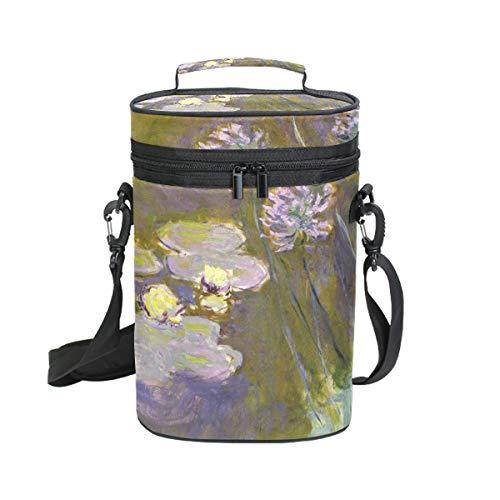 Ahomy Weintasche Claude Monet Art Wasserlien und Agapanthus für 2 Flaschen, isoliert, Kühler - Personalisierte Wein-kühler