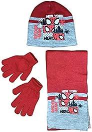Coordinato Cappello Guanti Sciarpa Avengers Spiderman Marvel Set Invernale Bambino