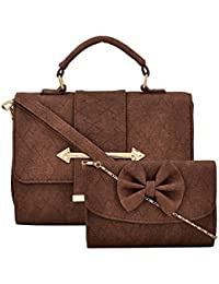 AMZA Hand Bag With An Party Clutch (with Detachable Shoulder Strap) (Brown)