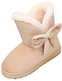 Chaussures Neige Femmes,Tall Matelassé Fourrure Doublée Bowknot Chaud  Appartements Chaussures Neige Femmes Bottes Automne e84ac444a5ca