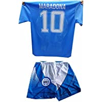 9df5fe473c1d0 Completino c2 New Pantaloncini e t-Shirt Maglia Azzurra Stampata Mars  ricordo Napoli Maglietta Maradona