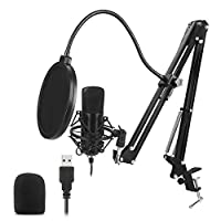 Mainstayae USB Microphone Kit 192KHZ/24BIT Professional Podcast Condenser Mic for PC Karaoke Studio Recording Mic Kit with Sound Card