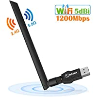 Dongle Wifi, ROTEK Clé Wifi 1200Mbps USB Wifi Adaptateur, Carte Wifi USB 3.0 avec Antenne 5dBi, WLAN Stick Dual Band 5G/867Mbps + 2.4G/300Mbps, Compatible avec Windows XP / Vista / 7/8/10, Mac OS