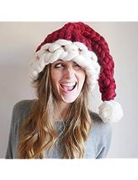 Tofree Weihnachtsmütze mit Tierohren, Tiermütze für Kleinkinder und Erwachsene, Strickmütze mit Handschuhen zufällige Farbe, rot, Für Erwachsene