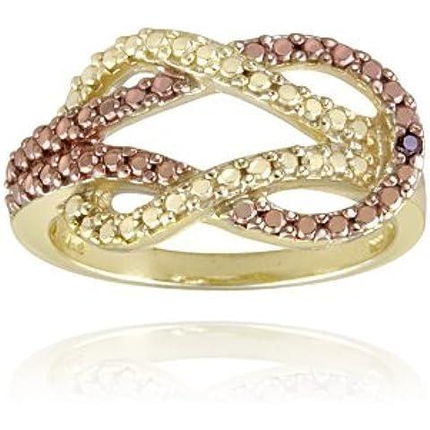 Tono de oro rosa y oro sobre plata esterlina de dos tonos rojo diamante acento anillo del nudo de amor