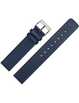 Uhrenarmband 18mm Leder Glatt Blau - Ersatzband Angepasst Für Skagen Uhren Mit Spezialanstoß / Verschraubte Gehäuse...