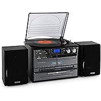 AUNA TC-386WE - Impianto Stereo, Ingresso USB e SD, MP3, Lettore per Cassette, Funzione Registrazione, X-Bass, Telaio in Legno, Sintonizzatore Radio FM, Giradischi 33 e 45 Giri, Nero Lucido