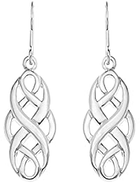 Ornami Silver Ladies' Celtic Knot Drop Earrings