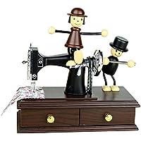 gaeruite Vintage Mini Caja de música con máquina de Coser, Pareja romántica clásica Marionetas Caja