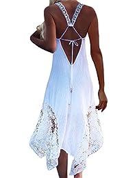 StyleDome Donna Vestito Pizzo Lungo senza Maniche Casual Elegante Cocktail  Moda Dress 00a1ceed76d