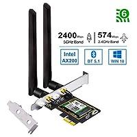 بطاقة واي فاي OKN WiFi 6 AX200 PCIE 2974 ميجا بايت بالثانية مع بلوتوث 5.1، 802.11AX ثنائي النطاق 5 جيجاهرتز/2.4 جيجا هرتز محول PCI اللاسلكي لسطح المكتب، يدعم نظام التشغيل Windows 10 64bit/ Linux