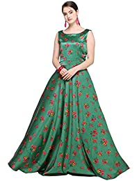 Inddus Green Satin Floral Printed Flared Floor Length Gown for Women, Evening & Party Wear, (Fully Stitched).