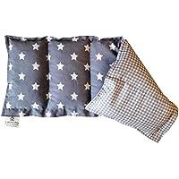 Körnerkissen Wärmekissen Sterne grau kariert 100% Baumwolle 50x20cm Dinkelkissen