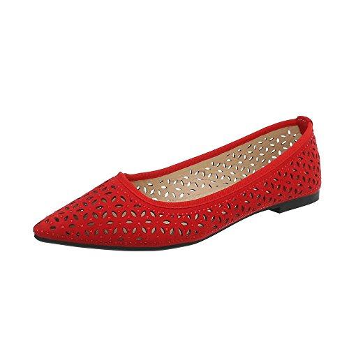 Ital-Design Klassische Ballerinas Damen-Schuhe Blockabsatz Perforierte Rot, Gr 37, 127-25-