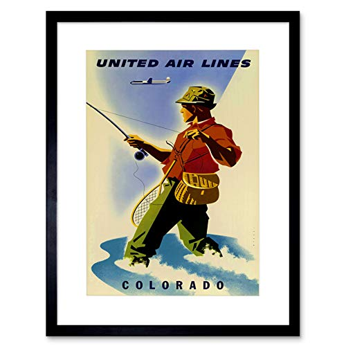 TRAVEL Sport Fishing Angling United Airline Colorado Framed Art Print B12X1709 - Poster United Airlines