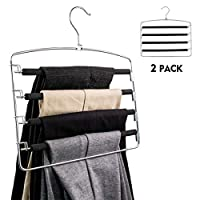 YOFAPA Clothes Pants Hangers, Trouser Hangers with Non-slip Foam Padded, Multi Layers Swing Arm Space Saver Closet Storage Organizer for Scarf, Trouser (2 Pack)