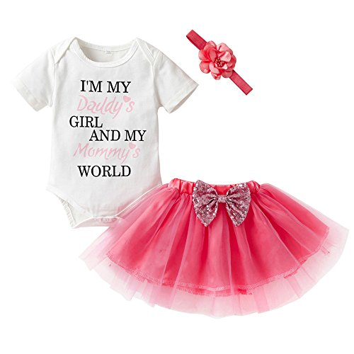 sunnymi Baby Mädchen 3 TLG I'm My Daddy's Tops Rock Stirnband Kostüm Für 6-24 Jahre Outfits Kleidung (Weiss, 6 Monat)