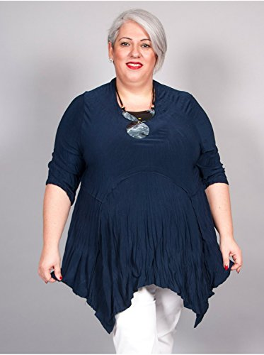 Vêtement Femme Grande Taille Tunique Crinkle Marine Noir
