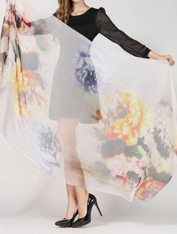 Helan femmes Réel Soie Naturelle 180 X 110 cm Emballage d'été Foulards longs Yellow Flower