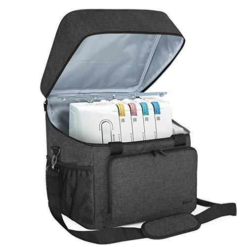Luxja Overlock Tasche für Overlock Maschinen, Overlocktasche für Aufbewahrung Overlock-Nähmaschinen, Coverlocktasche für Transport Overlockmaschine und Zubehör, 35,5CM x 30,5CM x 37CM, Schwarz