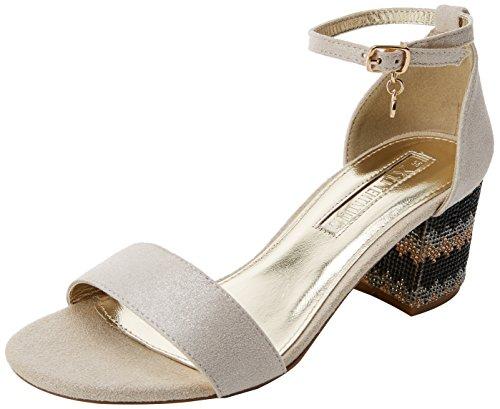 XTI 30702, Zapatos Tacon Correa Tobillo Mujer, Dorado