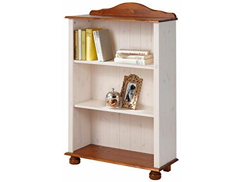 JASMIN Bücherregal Regal Standregal Wohnzimmer Möbel Landhausstil Kiefer massiv, 77 x 30 x 116 cm, weiß & honig (Bücherregal Wohnzimmer)