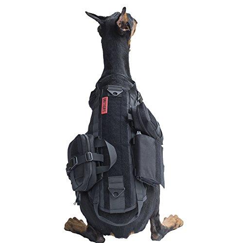 OneTigris Taktisch Hundeausbildung MOLLE Weste Geschirr Hundegeschirr mit einfach abnehmbare Dienstprogramm Kletttasche Zubehörtasche (Schwarz, XL)