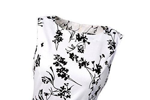 Damen A-Linie 50er Vintage Abendkleid Rockabilly Kleid Knielang Festliches Pin Up Kleid Partykleider Cocktailkleider Weiß