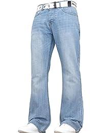 Denim And Dye Men's Wide Leg Bootcut Flared Blue Heavy Denim Jeans with Belt