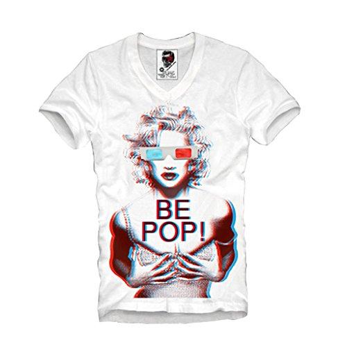 E1SYNDICATE V-NECK T-SHIRT BE POP! MADONNA CONCERT TOUR TICKET LIKE A VIRGIN