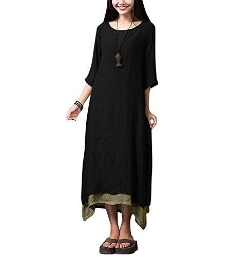 Damen Kleid Unregelmäßiger Rand Beiläufige Boho Lang Maxikleider S-4XL,Orange/Grün/Coffee, Schwarz, S